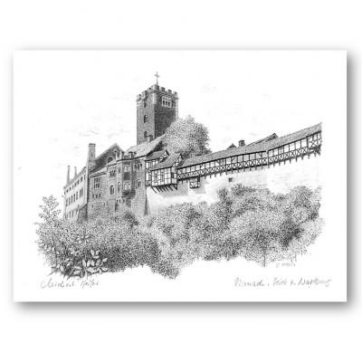 """Zeichnung """"Wartburg von Nordosten""""::Großes Format ohne Passepartout"""